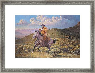 Pony Express Rider At Look Out Pass Framed Print