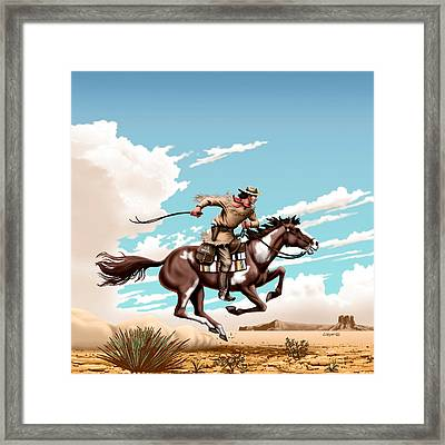 Pony Express Rider - Western Americana - Square Format Framed Print by Walt Curlee