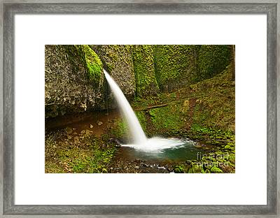 Ponytail Falls At The Columbia River Gorge In Oregon. Framed Print by Jamie Pham