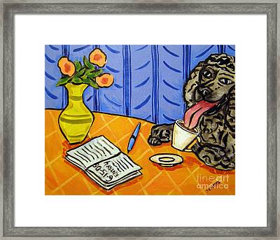 Poodle At The Cafe Framed Print by Jay  Schmetz
