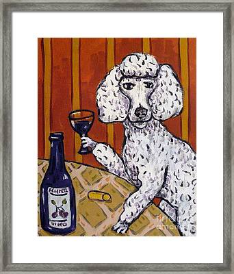Poodle At The Wine Bar Framed Print by Jay  Schmetz