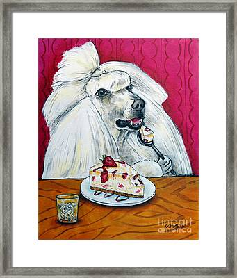 Poodle With Cheesecake Framed Print by Jay  Schmetz