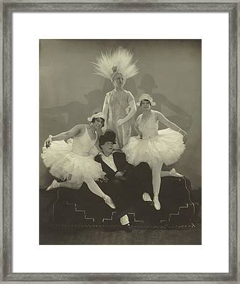 Poodles Hanneford With Fellow Circus Performers Framed Print