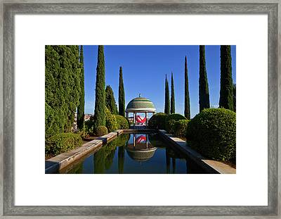 Pool And Temple With Art Framed Print by Panoramic Images