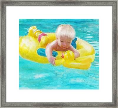 Pool Baby Framed Print by Jane Schnetlage