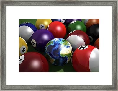 Pool Balls And The Globe Framed Print by Leonello Calvetti