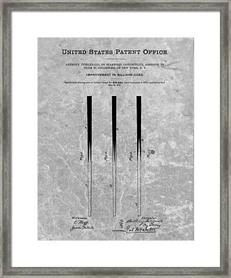 Pool Cue Patent Charcoal Framed Print