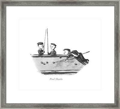 Pool Sharks Framed Print by William Steig