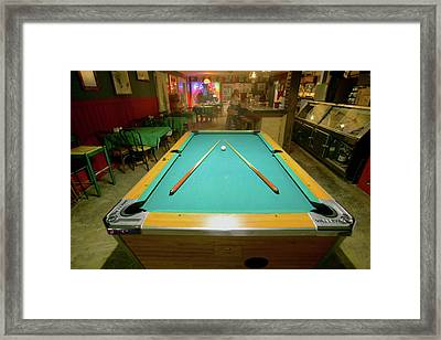 Pool Table Lit By Electric Lights Framed Print