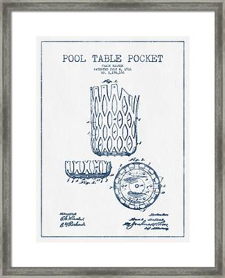 Pool Table Pocket Patent Drawing From 1916  -  Blue Ink Framed Print