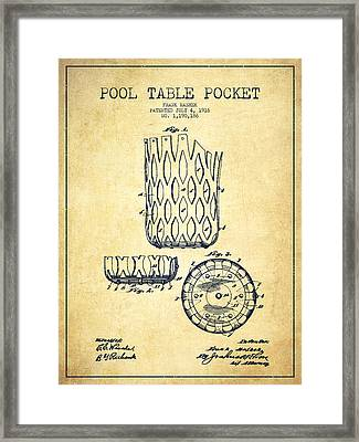 Pool Table Pocket Patent Drawing From 1916 - Vintage Framed Print