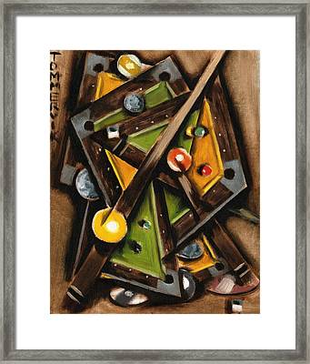 Abstract Cubism Pool Table Art Print Framed Print by Tommervik