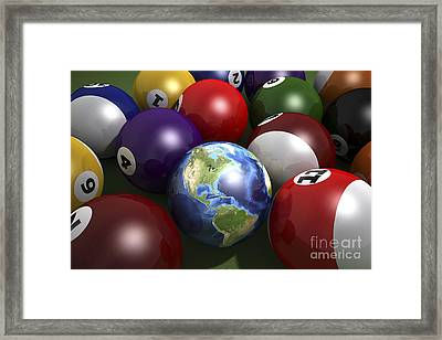 Pool Table With Balls And One Framed Print