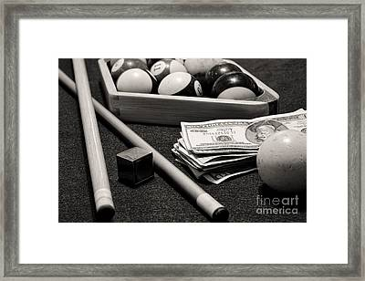 Pool - The Hustler -  Black And White Framed Print