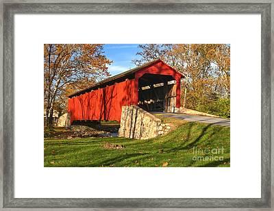 Poole Foge Covered Bridge In The Fall Framed Print