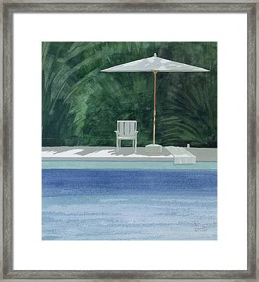Poolside, 1994 Acrylic On Paper Framed Print