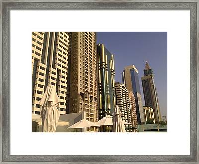 Poolside In Dubai Framed Print