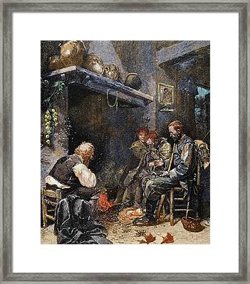 Poor Family At Home Framed Print by Prisma Archivo
