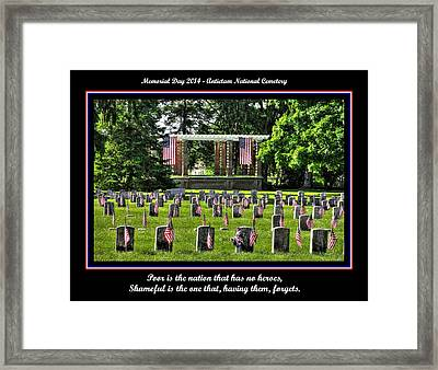 Poor Is The Nation That Has No Heroes.  Shameful Is The One That Having Them Forgets.  Antietam 2014 Framed Print by Michael Mazaika