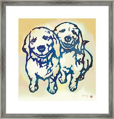 Pop Art Etching Poster - Dog - 10 Framed Print by Kim Wang