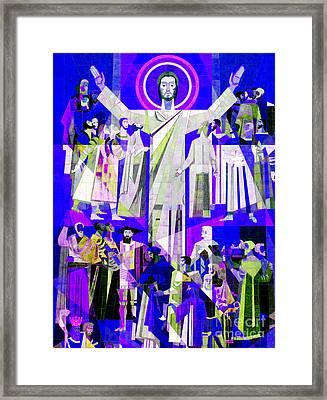 Pop Art Touchdown Jesus Mural At N D U Main Library Framed Print by Tina M Wenger