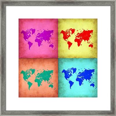 Pop Art World Map 1 Framed Print by Naxart Studio