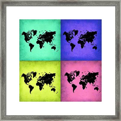 Pop Art World Map 2 Framed Print by Naxart Studio