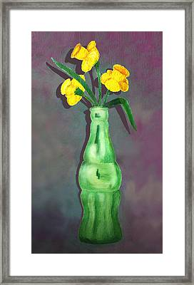 Pop Bottle Daffodil Framed Print by Ginny Schmidt