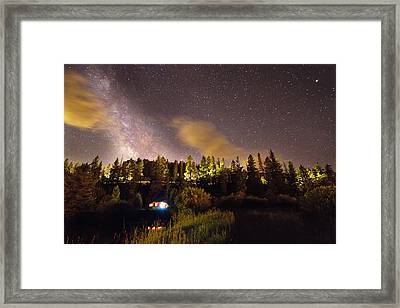 Pop Up Camper Under The Milky Way Sky Framed Print