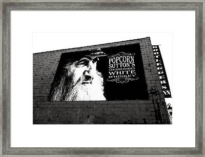 Popcorn Sutton's Tennessee White Whiskey Framed Print by Dan Sproul