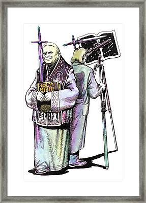 Pope Benedict Portrait And Astronomer Framed Print by Magdalena Walulik