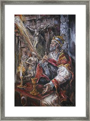 Pope Benedict Xiii - Dialogue With God Framed Print by Stefano Popovski