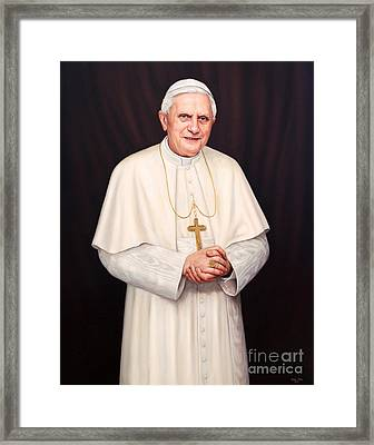 Pope Benedict Xvi Framed Print by Lisa  Ober