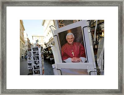 Pope Benedict Xvi. Postcard In A Rack. Rome. Lazio. Italy. Europe Framed Print by Bernard Jaubert
