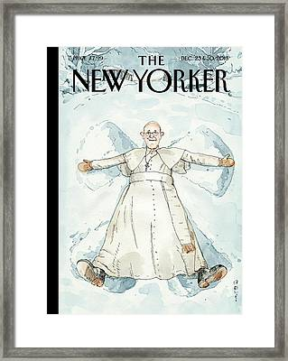 Pope Francis Makes A Snow Angel Framed Print by Barry Blitt