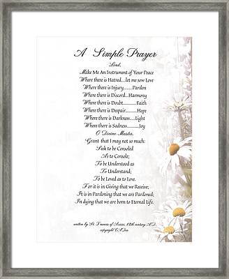Pope Francis St. Francis Simple Prayer Daisies Framed Print by Desiderata Gallery