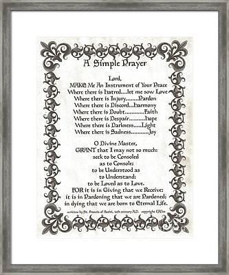 Pope Francis St. Francis Simple Prayer Faith On Fleury Framed Print by Desiderata Gallery