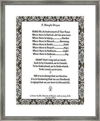Pope Francis St. Francis Simple Prayer Filigreefaith Framed Print by Desiderata Gallery