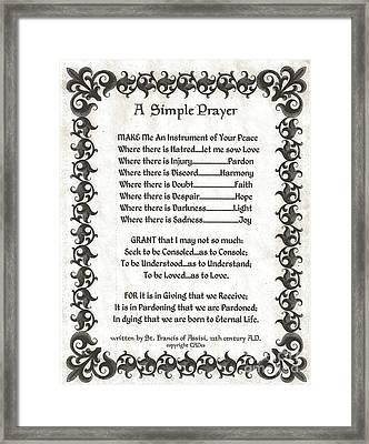Pope Francis St. Francis Simple Prayer Fleury Of Faith Framed Print by Desiderata Gallery