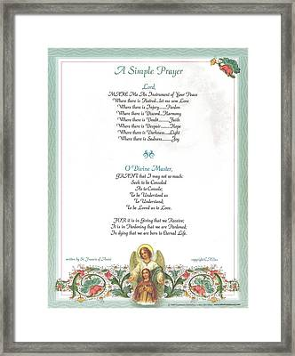 Pope Francis St. Francis Simple Prayer Florentine Angel Framed Print by Desiderata Gallery