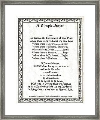 Pope Francis St. Francis Simple Prayer Leaf Parchment Framed Print by Desiderata Gallery