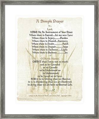 Pope Francis St. Francis Simple Prayer Lilly Of The Valley Framed Print by Desiderata Gallery