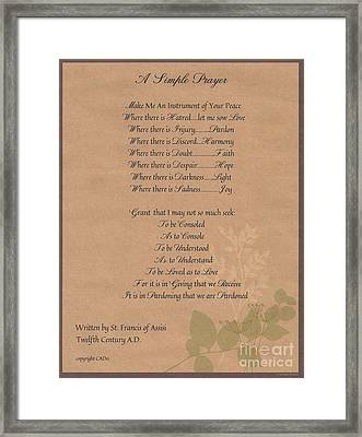 Pope Francis St. Francis Simple Prayer Organic Faith Framed Print by Desiderata Gallery