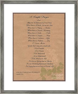 Pope Francis St. Francis Simple Prayer Organic Peace Leaves Framed Print by Desiderata Gallery