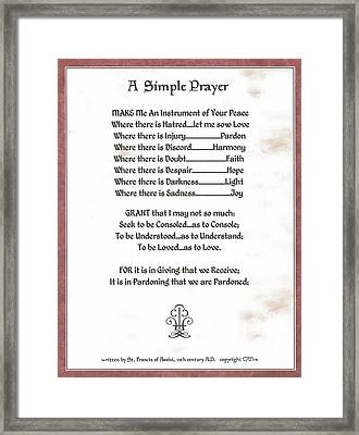 Pope Francis St. Francis Simple Prayer Sicily Framed Print by Desiderata Gallery