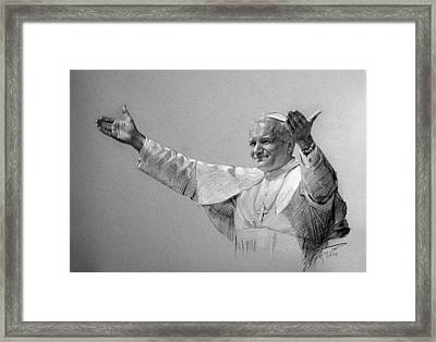 Pope John Paul II Bw Framed Print