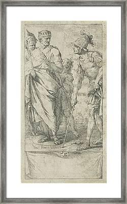 Popilius Laenas Draws A Circle, Jan Miel Framed Print by Jan Miel