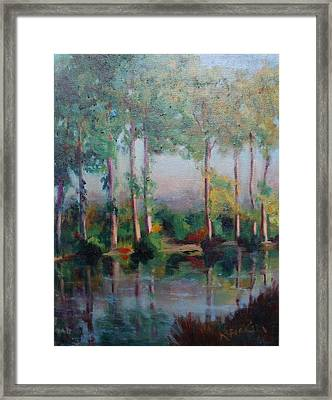 Framed Print featuring the painting Poplars by Rosemarie Hakim