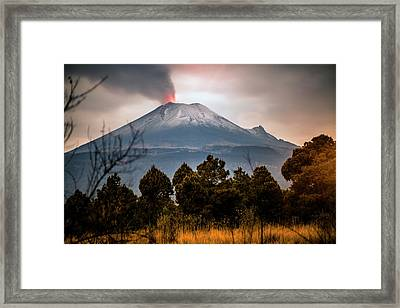 Popocatepetl Volcano From Puebla State Framed Print by ©fitopardo.com