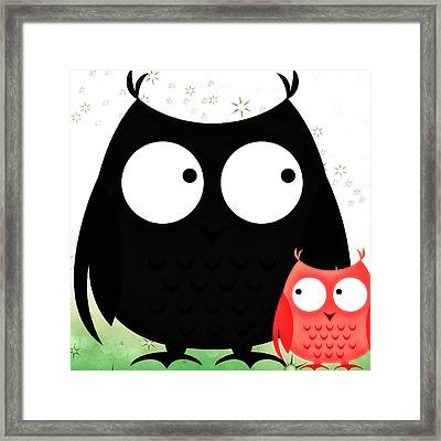Poppa And Baby Owl  Framed Print by Chastity Hoff